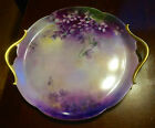 Outstanding T.V Limoges Hand Painted Violets Cake Plate Gilded Gold Handles