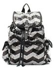 Chevron Bling GLITTER SEQUIN Drawstring BACKPACK Bookbag Tote Bag Victoria