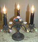 ANTIQUE FRENCH PETITE BRONZE VANITY LAMP w PORCELAIN FLOWERS