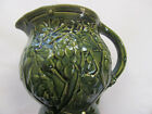 1920s Dark Green McCoy Pottery Milk Pitcher Jug~Embossed Grapes
