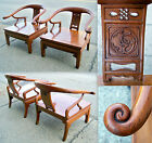 2 ANTIQUE VINTAGE CHINESE HAND CARVED HUANGHUALI MING HORSESHOE LOW PRO CHAIRS