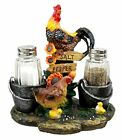 Rooster and Hen Chicken Family Salt and Pepper Shakers Holder Decor Figurine