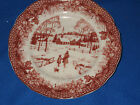 222 Fifth Poinsettia Christmas Toile 4 Appetizer Dessert Plates NWT
