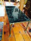Vintage Brass Claw Foot Table With Marble Top