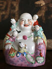 Vintage Laughing Happy Buddha With 5 Children  Porcelain Statue Figure Hotei