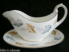 COALPORT England bone china OAKWOOD Gravy Sauce Boat with Under Plate gold rims
