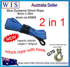 Blue Dyneema Winch Rope/Synthetic Cable 8mm x 30m w G70 Clevis Slip Hook w Latch