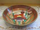 VINTAGE HAND PAINTED ORCHID BRASS BACKED DECORATIVE DISPLAY WALL MOUNTED BOWL