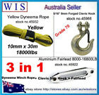 10mm x 30m Yellow Synthetic Winch Rope&Aluminum Hawse Fairlead & G70 Clevis Hook