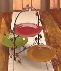 3 Tiered Server Appetizers Deserts Stand Parties Buffet Leaf Earthenware Plate