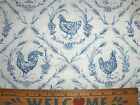 2000 FRENCH COUNTRY QUILTING COTTON FABRIC TOILE HENS CHICKENS ROOSTERS 2 yds