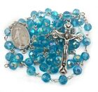 Turquoise Crystal Beads Rosary Catholic Necklace Miraculous Medal with Crucifix