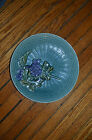 antique blue majolica plate weave grapes GZS Baden Germany vintage art deco vtg