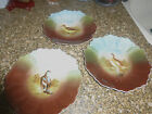 3 Vintage  ZS &C Bavaria Cabinet Plates Game  Porcelain Bird blue/brown