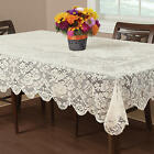 New Square Ivory Lace Floral Buckingham with Scallop Edges Tablecloth 70