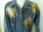 Vintage 80s Blue Denim Studded Hand Painted Jean Jacket Coat