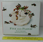FITZ and FLOYD Ceramic Plaid Christmas Reindeer Canape Plate Dish  W/Box