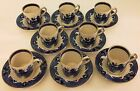 BURLEIGH WARE WILLOW PATTERN - 8 DEMITASSE CUPS & SAUCERS - GOLD / GILT EDGE