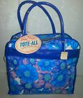 Vintage Vinyl Blue Purple Flower Power Groovy 1960's Mod tote bag w/tags