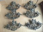 6 Brass Drawer Pulls Hardware Cherubs Great Patina! Old! Victorian
