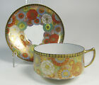 Four Antique (1920s-1930s) NIKKO Japan Hand Painted Chrysanthemum Cups Saucers