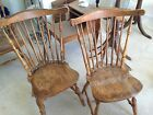 VINTAGE FAN-BACK  WINDSOR CHAIRS NATURAL FINISH SOLID WOOD