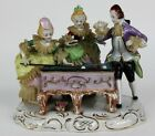 Antique Dresden Style German Porcelain Victorian Lace Pool Billiard Players NR