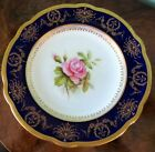 Coalport Antique Cobalt Blue Gold & Pink Rose Plate Hand Painted, Artist Signed