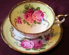 Foley Fancy Large Pink Roses Heavy Gold Yellow Cup & Saucer, 1950s