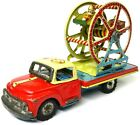 Vintage TN Nomura Tin Friction Circus Carnival Space Ferris Wheel Flatbed Truck