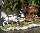 Vintage Sandizell Dresden lace porcelain carriage horse figurine Hoffner Royal