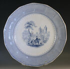 c.1850 MAYER LONGPORT BARONIAL HALLS BLUE TRANSFERWARE PLATE, LARGE 11