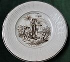 Antique Brown Transferware Plate DIGOIN SARREGUEMINES Fables de la Fontaine #12