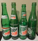Lot of 4-  Mountain Dew/Hilly Billy Vintage Green Soda Bottles