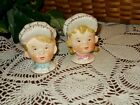 Vintage Salt and Pepper Shakers ~ Boy & Girl Heads with Baseball Caps