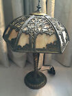 ANTIQUE MILLER ERA SLAG GLASS LAMP SHADE CARVED OUTDOOR SCENES WHITE METAL BASE