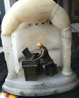 UNUSUAL CARVED ALABASTER LAMP THEATER with BEETHOVAN METAL SCULPTURE JRVHL 1932
