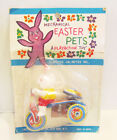 MECHANICAL EASTER PETS 1960's RABBIT BUNNY ON TRICYCLE TIN WIND-UP MOC JAPAN
