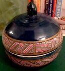 VTG Lovely Chinese Handmade/ Hand Painted Ceramic Candy Jar With Lid.