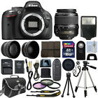 Nikon D5200 Digital SLR Camera Body 3 Lens Kit 18 55mm VR Lens + 16GB Best Value