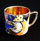 Abstract Kitsch Painted Retro Espresso Cup Czechoslovakia w Gold Tint Vtg