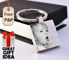 Metal Personalised Square Keyring Keychain PHOTO ENGRAVED Fathers day Gift