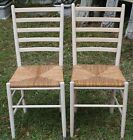 2 Painted Ladder Back Dining Chairs Raffia Rush Beach Shabby Cottage 00101010