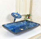 Modern Bathroom Glass Vessel Sink with waterfall Faucet & Pop-up Drain Combo