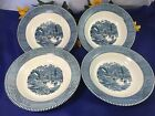 4 pcs Royal China Blue CURRIER and IVES EARLY WINTER Rimmed Soup Bowls 8 1/2