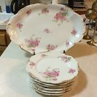 Antique Limoges Serving Platter (Pink Rose Gold Trim) w/ 6 Matching Plates