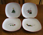 4 FITZ AND FLOYD ESSENTIALS MERRY CHRISTMAS BREAD OR DESSERT PLATES - HOLIDAY