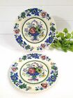ANTIQUE MASON'S PATENT IRONSTONE STRATHMORE BLUE FLORAL PLATE SET OF 2 -6 3/4