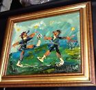 MORRIS KATZ Sporting Abstract Oil on Board SIGNED & FRAMED! 26