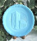 Fenton 1971 Christmas in America Church Plate THE OLD BRICK CHURCH  Blue Satin